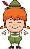 Smiling Cartoon Lederhosen Girl. A cartoon illustration of a German girl in lederhosen smiling Royalty Free Stock Photo
