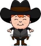 Smiling Cartoon Little Gunfighter. A cartoon illustration of a little gunfighter smiling Stock Photography