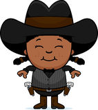 Smiling Cartoon Little Gunfighter Royalty Free Stock Images