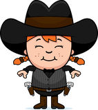 Smiling Cartoon Little Gunfighter. A cartoon illustration of a little gunfighter smiling Royalty Free Stock Image