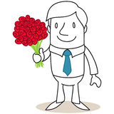 Smiling cartoon man holding bouquet of red roses Royalty Free Stock Photos