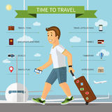 Smiling cartoon man with the set of travel icons Stock Photography