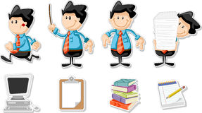 Smiling cartoon men. Smiling cartoon business men with office icons Stock Photography