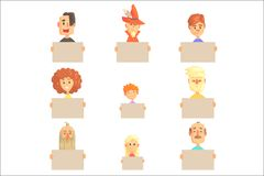 Smiling cartoon men, women and kids characters with empty banners set of colorful vector illustrations. Isolated on a white background royalty free illustration