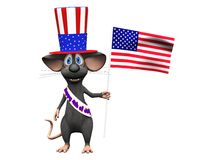 Smiling cartoon mouse celebrating 4th of July or Independence Da. A cute smiling cartoon mouse wearing a flag decorated hat and a sash with the text Happy 4th of Stock Image