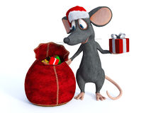 Smiling cartoon mouse handing out presents. Royalty Free Stock Images
