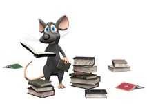 Smiling cartoon mouse holding a book. Stock Photography