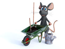 Smiling cartoon mouse ready for gardening. Stock Photography
