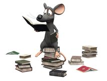 Smiling cartoon mouse sitting on a pile of books. Stock Photo