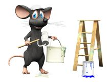 Smiling cartoon mouse working as a painter. Royalty Free Stock Photography
