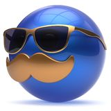 Smiling cartoon mustache face emoticon ball happy person. Smiling cartoon mustache face emoticon ball happy joyful handsome person blue caricature sunglasses Royalty Free Stock Photos
