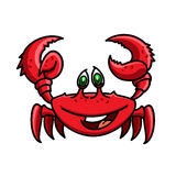 Smiling cartoon ocean red crab character. Smiling cartoon ocean red crab is running with raised claws. Childish stylized marine crustacean animal character for Royalty Free Stock Photography