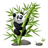 Smiling cartoon panda hanging on bamboo. Vector clip art illustration Royalty Free Stock Images