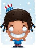 Smiling Cartoon Patriotic Girl. A cartoon illustration of a patriotic girl standing and smiling Royalty Free Stock Images
