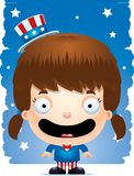 Smiling Cartoon Patriotic Girl. A cartoon illustration of a patriotic girl standing and smiling Royalty Free Stock Photography