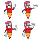 Smiling cartoon pencils set. Collection of smiling cartoon pencils with various gestures Stock Photography