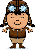 Smiling Cartoon Pilot. A cartoon illustration of a child pilot smiling Stock Photo