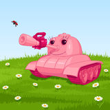 Smiling cartoon pink tank with a bow on the trunk on a green summer meadow Royalty Free Stock Photo