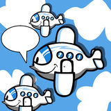 Smiling Cartoon Plane with speech bubble Stock Photo