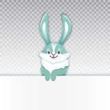 Smiling cartoon rabbit. Funny bunny. Cute hare. Vector illustration grouped and layered easy editing with banner for Stock Images