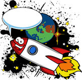 Smiling Cartoon rocket with speech bubble Stock Images