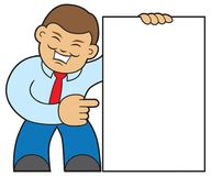 Smiling Cartoon Salesman Holding Sign. Smiling cartoon salesman is very happy about what is on the sign he is holding with room for copy Royalty Free Stock Photo