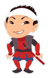 Smiling cartoon samurai with a sword Royalty Free Stock Photos