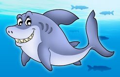 Smiling cartoon shark Stock Photos