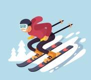 Smiling cartoon skiing downhill. Vector flat style Stock Photos