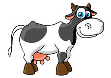 Smiling cartoon spotted cow character Stock Images