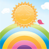Cartoon sun and rainbow Royalty Free Stock Images
