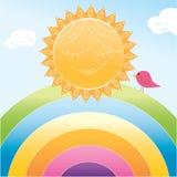 Cartoon sun and rainbow. Smiling cartoon sun and little bird on rainbow Royalty Free Stock Images