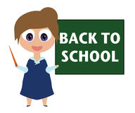 Smiling cartoon teacher, Back to school on blackborad Royalty Free Stock Image