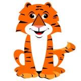 Smiling Cartoon Tiger. Cute cartoon animal clipart of a happy sitting tiger smiling Vector Illustration