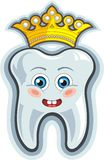 Smiling cartoon tooth with crown Royalty Free Stock Photos