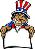 Smiling Cartoon Uncle Sam Holding a Sign. Uncle Sam on July 4th Mascot with Happy Smiling Face Wearing Stars and Stripes Hat and holding a Sign Cartoon Image stock illustration
