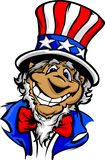 Smiling Cartoon Uncle Sam Patriotic Hat Stock Photography