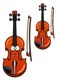Smiling cartoon violin character with bow Royalty Free Stock Image