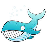Smiling cartoon whale. Illustration of smiling cartoon whale blowing bubbles, isolated on white background Stock Photography