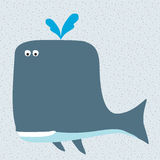Smiling cartoon whale. Character and blue background Royalty Free Stock Images