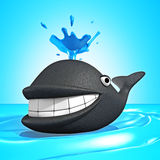 Smiling Cartoon Whale Making Fountain Of Sea Water Royalty Free Stock Image