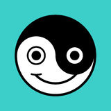 Smiling cartoon yin-yang face Stock Images
