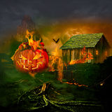 Smiling Carved Jack O Lantern Halloween Pumpkin Burning Haunted House Stock Image