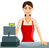 Smiling Cashier Girl. Smiling Supermarket Cashier Girl welcoming customers Stock Photo