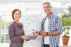 Smiling casual business colleagues with tablet Royalty Free Stock Images