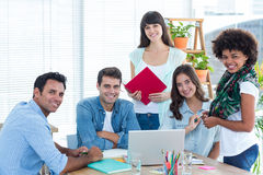 Smiling casual colleagues in a meeting Royalty Free Stock Images