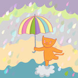 Smiling cat. Under rain vector illustration Stock Photo