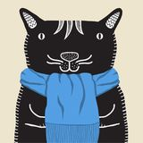A smiling cat in a blue scarf Royalty Free Stock Images