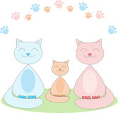 Smiling cat family Royalty Free Stock Images
