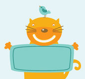 Smiling cat holding plate Stock Photography